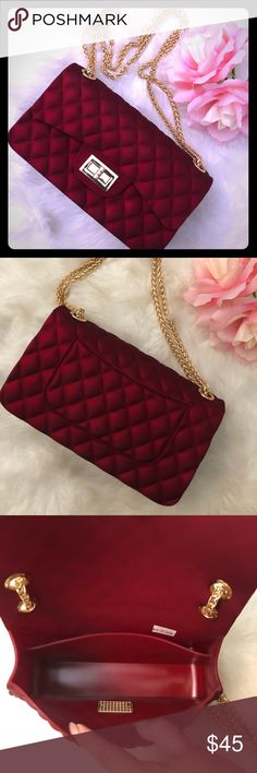"Quilted Jelly Purse NWOT Stunning  wine colored quilted jelly purse.  The purse has the appearance of velvet.  Strap can also be worn long. Perfect for a night out. Measures: H: 5"" W: 8.5"" D: 3"". Bags Shoulder Bags"