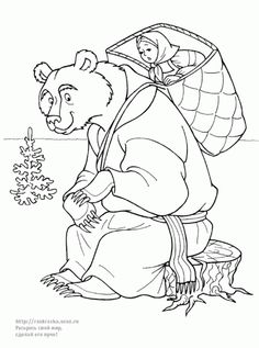 Mischa Put Mascha On His Shoulder In Mascha And Bear Coloring Pages : Bulk Color