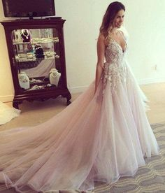 Gorgeous A-line Tulle Long Wedding Dresses,Deep V-Neck Wedding Dresses,Open Back Wedding Dresses