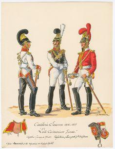 Saxony; Leib Cuirassiers Garde Trooper in Tenue de Route, Officer & Trumpeter in Full Dress 1810-13 by H.Boisselier.
