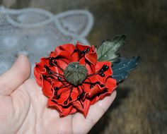 red brooch-clip leather red poppy flower ,brooch Art handmade, large brooch. Ready to Ship! Брошь из кожи мак, брошь цветок