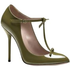Pre-owned Gucci Bnc002 Olive Green Pumps (€320) ❤ liked on Polyvore featuring shoes, pumps, heels, olive green, strappy pumps, bow heel shoes, gucci shoes, gucci and olive green shoes