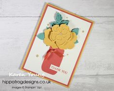 Thank You Card. Handmade using Wild Rose Dies, Jar Punch, Blossoms in Bloom Stamp Set, In Color, Ornate Garden Ribbon Combo Pack, Gold Glitter Enamel Dots and Stampin' Cut Class Projects, Emboss, Gold Glitter, Blossoms, Thank You Cards, Project Ideas, Punch, Stampin Up, Enamel