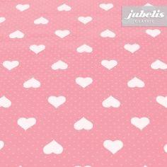 jubelis® Wachstuch für drinnen und draußen - romantische Tischwäsche in Rosa mit kleinen Herzchen