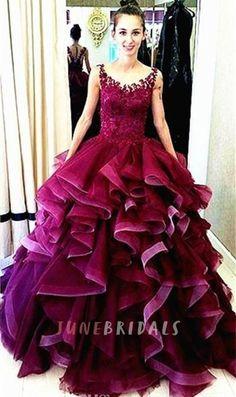 Newest Lace Appliques Ruffles Princess Evening Dress 2016 Sleeveless - JuneBridals