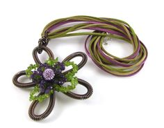 Flower pendant designed by Jo Barclay Loggie for Spoilt Rotten Beads