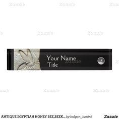 ANTIQUE EGYPTIAN HONEY BEE,BEEKEEPER Black white Desk Name Plate