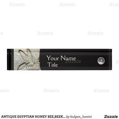 ANTIQUE EGYPTIAN HONEY BEE,BEEKEEPER Black white Desk Name Plate