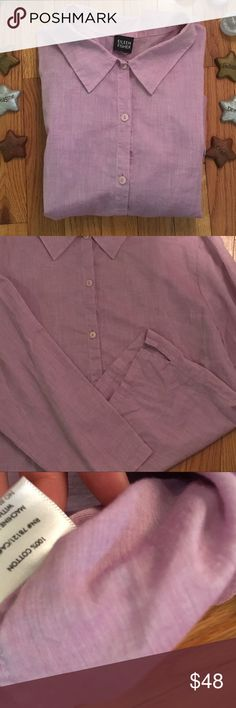 Eileen Fisher purple cotton button down M Beautiful Eileen Fisher 100% cotton button-down shirt. EUC. Beautiful heather purple, slightly sheer. Loose fit, stylish split hem. Perfect for any weather; light + breezy in summer and an amazing layering piece in fall/winter. The size tab on the nametag is missing, so please refer to measurements:  Length: 25.5 inches Armpit to armpit: 23 inches  Bottom hem: 25 inches  For reference, I'm 5'2, usually a size small in tops, and this fits me like a…