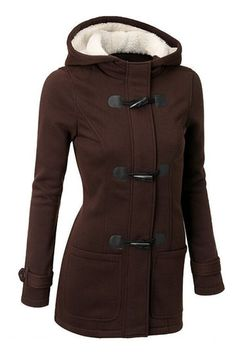 Khaki Button Fastening Hooded Fashion Coat with Pockets from mobile - US$35.95 -YOINS