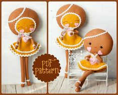 PDF. Gingerbread girls .Plush Doll Pattern, Softie Pattern, Soft felt Toy Pattern.