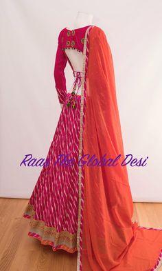 Silk Chania with designer brocade blouse and contrast dupatta Garba Chaniya Choli, Garba Dress, Navratri Dress, Lehnga Dress, Lehenga Gown, Bandhani Dress, Anarkali Suits, Choli Designs, Lehenga Designs