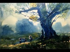 Landscape only in two color, Prussian Blue and Yellow Ochre, Watercolor on paper, Size 15 X 11 inches. Watercolor Video, Watercolour Tutorials, Watercolor Lesson, Painting Tutorials, Beginning Watercolor, Watercolor Landscape Paintings, Landscape Art, Pastel Drawing, Painting Videos