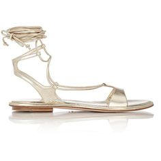 Miu Miu Women's Lace-Up Gladiator Sandals ($595) ❤ liked on Polyvore featuring shoes, sandals, flat sandals, gold, roman sandals, greek leather sandals, leather gladiator sandals and lace-up sandals