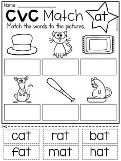 Short a worksheet for 'at' word family. This Short A pack provides pages and pages of CVC learning and practice for your students. It features 40 worksheets full of fabulous activities to help your students master short a words. As a bonus, you will also English Worksheets For Kindergarten, Preschool Writing, 1st Grade Worksheets, Phonics Worksheets, Preschool Learning Activities, Kindergarten Reading, Short A Worksheets, Short A Activities, English Activities For Kids