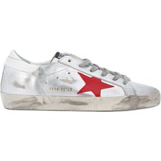 Golden Goose Deluxe Brand Superstar sneakers (675 CAD) ❤ liked on Polyvore featuring shoes, sneakers, grey, golden goose shoes, golden goose sneakers, distressed shoes, destroy shoes and star shoes