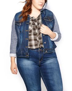 Cool and casual, this plus-size jacket is a fashion essential! You'll love its super soft french terry sleeves and hood with drawstring, as well as its high-quality, stretchy cotton blend denim fabric, button-up front and chest pockets. A trendy layer to wear with all your outfits!