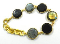 NEW VINTAGE FASHION LABRADORITE GEMSTONE BRASS ADJUSTABLE CHAIN BRACELET JEWELRY #Magicalcollection #ChainLink #magicalcollection #Linkbracelet #bracelet #gemstone #jewelry