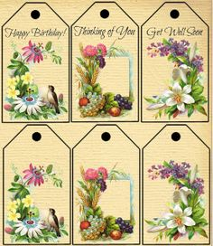 Knick of Time: Printable Greeting Tags with Antique Floral Images