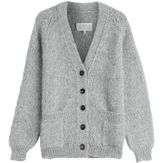 Maison Margiela Alpaca Blend Cardigan (3 060 SEK) ❤ liked on Polyvore featuring tops, cardigans, sweaters, outerwear, jackets, grey, button front shirt, tapered shirts, grey cardigan and fuzzy shirt