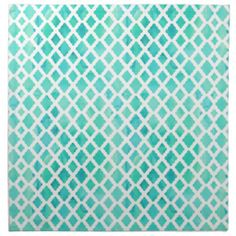*Watercolored Quatrefoil Turquoise Patterned Cloth Napkin