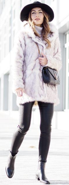 Lydia Elise Millen Pink Faux Fur Coat Holiday Style Inspo