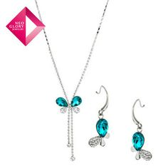 Neoglory  MADE WITH SWAROVSKI ELEMENTS Crystal Auden  Rhinestone Jewelry Sets for Female Vintage Necklace & Earrings New