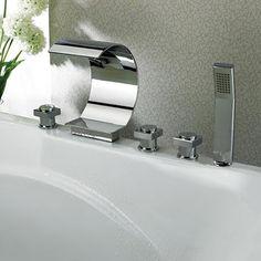 Shop for Kokols Modern Bathroom Chrome Waterfall Tub Faucet and Hand Shower. Get…