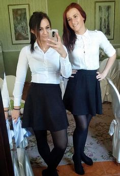 I turned and realised two waitresses had been filming my attempt to break into the till! I was well and truly caught! School Uniform Outfits, Cute School Uniforms, Girls Uniforms, Uniform Ideas, Black Pantyhose, Black Tights, Pantyhose Outfits, Nylons, Teen Girl Parties
