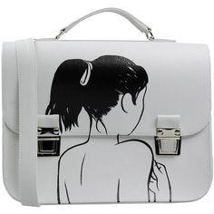 La Cartella Handbag ($98) ❤ liked on Polyvore featuring bags, handbags, shoulder bags, white, gladstone bag, white handbags, man bag, shoulder handbags and doctors bag