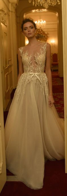 Plunging V-neck with illusion neckline and exquisite embroidery Ester Haute Couture Fall 2016