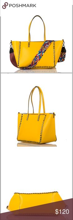 Studded leather Tote External material: leather Interior Material: Fabric  Handles: Leather Leather Strap: multicolored woven, non adjustable - removable -interchangeable Accessories: gunmetal Interior: unlined bag  Fabric inside bag  Made in Italy Bags Totes
