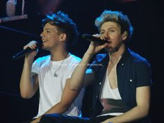 Louis Tomlinson and Niall horan at Sheffield Arena 14th April 2013 *SECOND ROW*