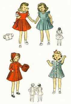 "Vintage Doll Clothes Pattern 5764 - 18"" ~ Pinafore - Coat - Blouse ~1930's style #VintagePatternReproduction"