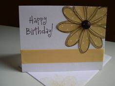 birthday- Stem Sayings; Pick a Petal (so safron; early espresso) stampin up card Handmade Card Making, Handmade Cards, Daisy Girl Scouts, Happy Birthday Cards, Flower Cards, Kids Cards, Daisies, Stampin Up Cards, I Card
