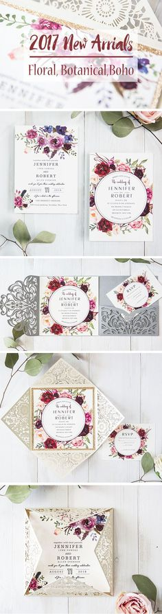 Romantic floral botanical and bohemian laser cut wedding invitations and ideas for your guests to discover a beautiful floral pattern in rich colors gracing the corners of these beautiful invitations.