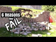 We are going to show you how to build a Retaining wall and show you 6 reasons they Fail. Today we cover the basics that will let you build a better wall and . Retaining Wall Drainage, Railroad Tie Retaining Wall, Cheap Retaining Wall, Boulder Retaining Wall, Backyard Retaining Walls, Retaining Wall Design, Building A Retaining Wall, Concrete Retaining Walls, Gabion Wall