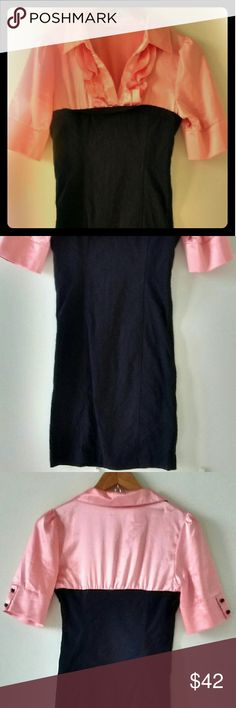 """Vintage """"Have"""" blouse dress Vintage Pink silky blouse top and black dress with ruffle design up top and black buttons. This is a one piece with very flattering fit. Comes down to mid thigh. No size but fits like women's 4-6. Vintage Dresses Midi"""