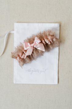 Blush and shimmer lace wedding garter - Designed and handmade bridal garter by The Garter Girl
