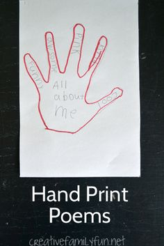 Write a poem inside a hand print. This simple poetry writing project for kids is a great way to get the creative juices flowing.