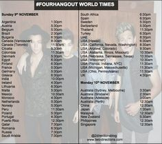 The times for the live stream :) mine comes on at 9:30am i cant wait!! ♥♥