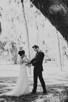 Gorgeous First Look | Backyard Style Southern Wedding | Stephanie W Photography | Bridal Musings Wedding Blog
