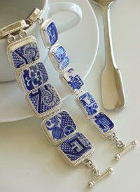 Broken Porcelain Jewelry, Blue Willow