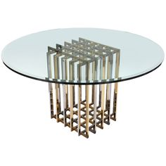 Pierre Cardin Chrome and Brass Pedestal Dining Table Midcentury Modern Dining Table, Modern Dining Room Tables, Pedestal Dining Table, Pierre Cardin, Table Furniture, Home Furniture, Decoration Inspiration, Chrome Plating, Home Deco