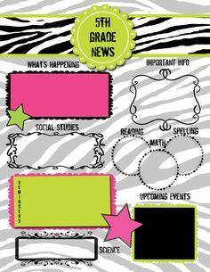 9 best 5th grade newsletter templates images on pinterest