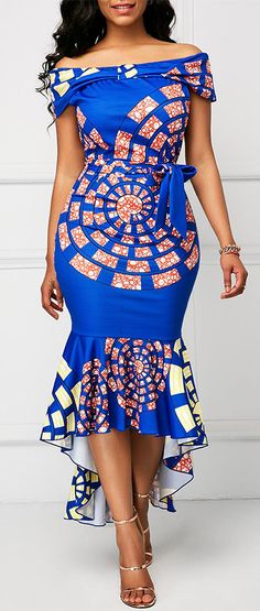African Print Dress Printed Belted Off the Shoulder Mermaid Dress Ankara Dress Styles, African Print Dresses, African Fashion Dresses, African Prints, Ankara Gowns, African Dress Styles, Kente Styles, African Outfits, Ghanaian Fashion