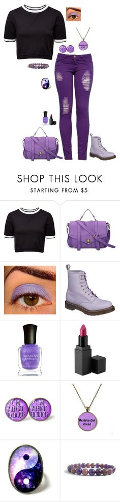 """""""Purple Chic"""" by lghockey ❤ liked on Polyvore featuring French Connection, Dr. Martens, Deborah Lippmann and MAKE UP STORE"""