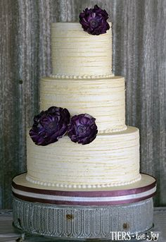 Rustic Wedding Cake with Fondant Flowers by Beverly's Bakery