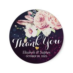 Wedding Thank You Boho Floral Feather Purple Light Classic Round Sticker - wedding thank you gifts cards stamps postcards marriage thankyou Wedding Thank You Gifts, Wedding Shower Gifts, Bridal Shower, Cool Stickers, Round Stickers, Wedding Stickers, Elegant Wedding, Chic Wedding, Floral Wedding
