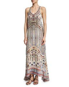 Camilla Printed Beaded Racerback Maxi Dress